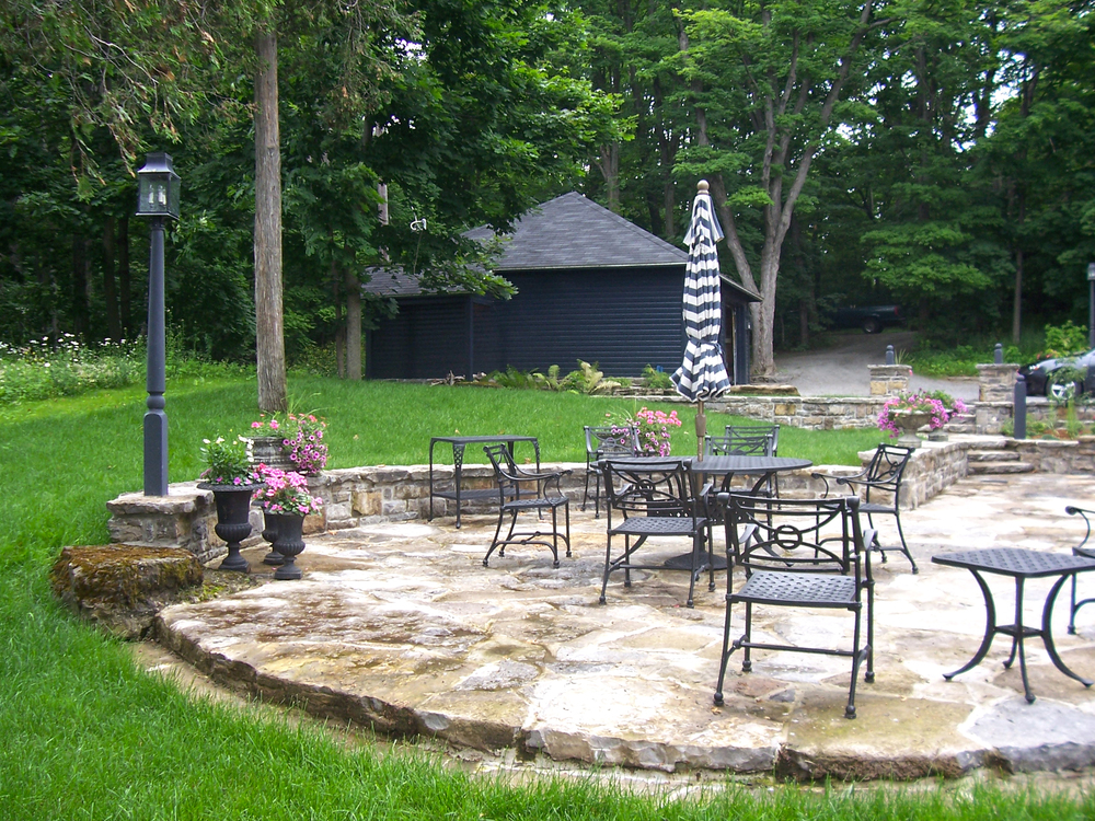 New Home With A Heritage Feel | Stone Patio | Landscape Architecture | Riverview Design Solutions | Prescott, Ontario, Canada