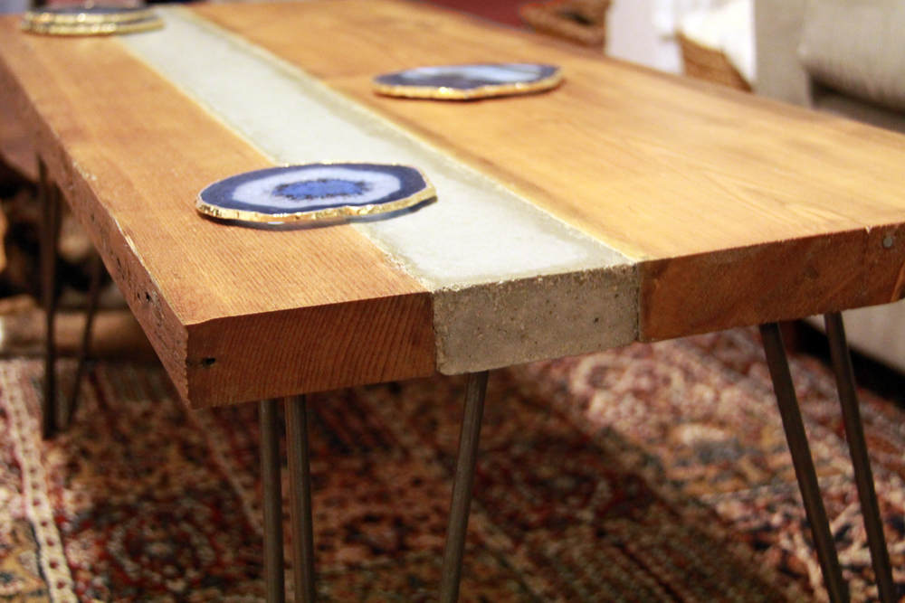 Reclaimed Wood and Concrete Coffee Table | Agate Coasters | Riverview Design Solutions | Prescott Ontario Canada