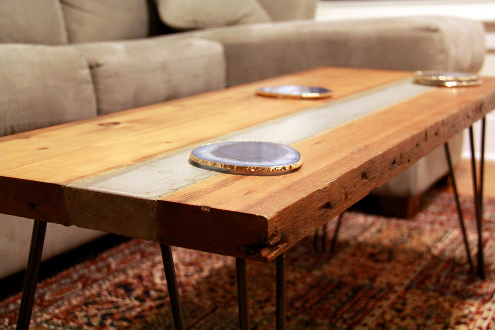 Riverview design solutionsreclaimed hemlock and concrete coffee table Wooden furniture canada