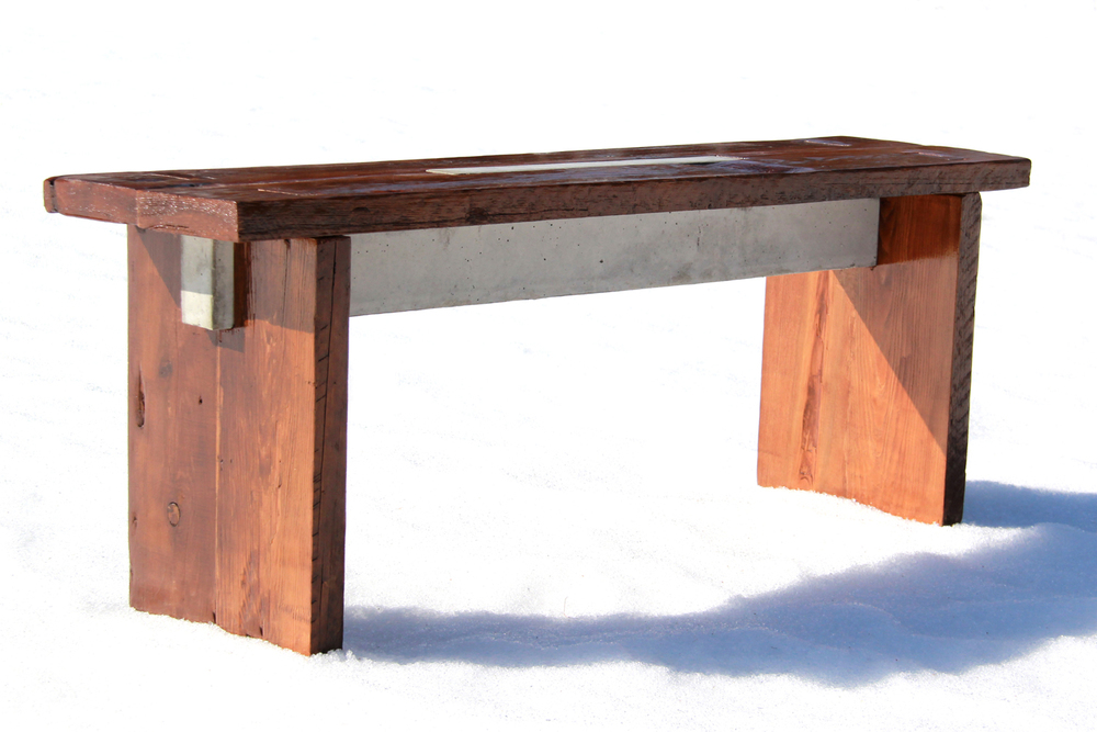 Boathouse Bench 02 | Reclaimed Wood and Concrete | Thousand Islands | Riverview Design Solutions | Prescott, Ontario, Canada