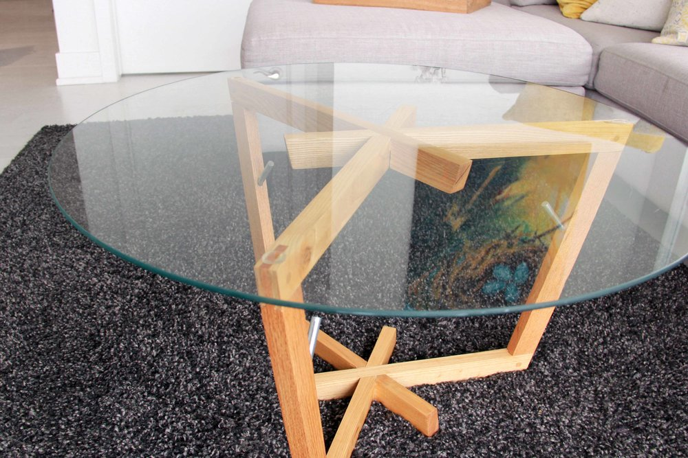 Riverview Design Solutions - Mid Century Modern Glass Coffee Table - Salvaged Ash Wood Furniture.jpg