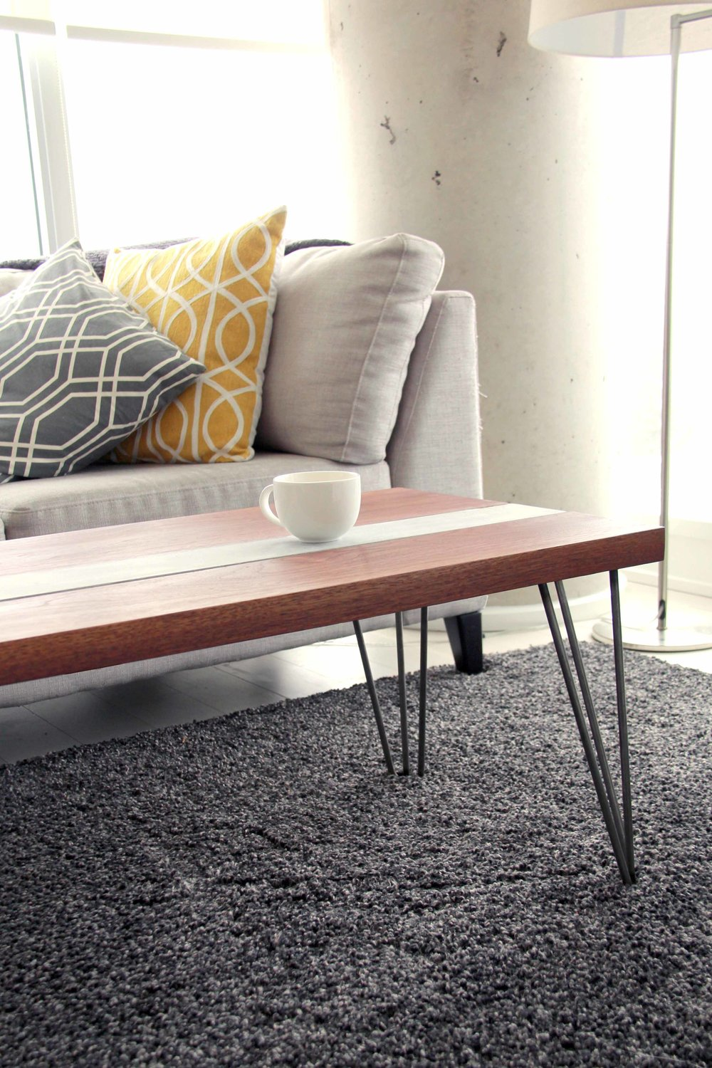 Riverview Design Solutions   Walnut Concrete Table   Industrial Modern  Furniture   Apartment