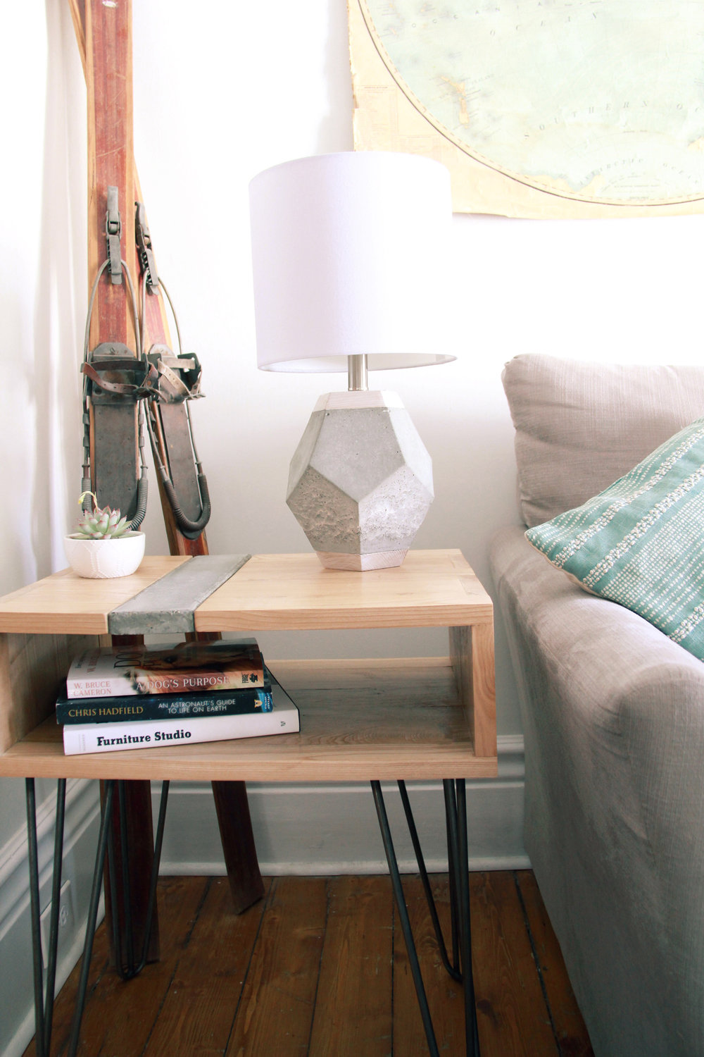 Riverview Design Solutions_Concrete and Wood_Side table_Concrete lamp_Brockville.jpg