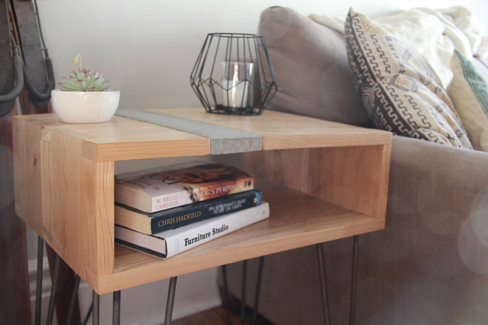 CONCRETE AND ASH SIDE TABLE