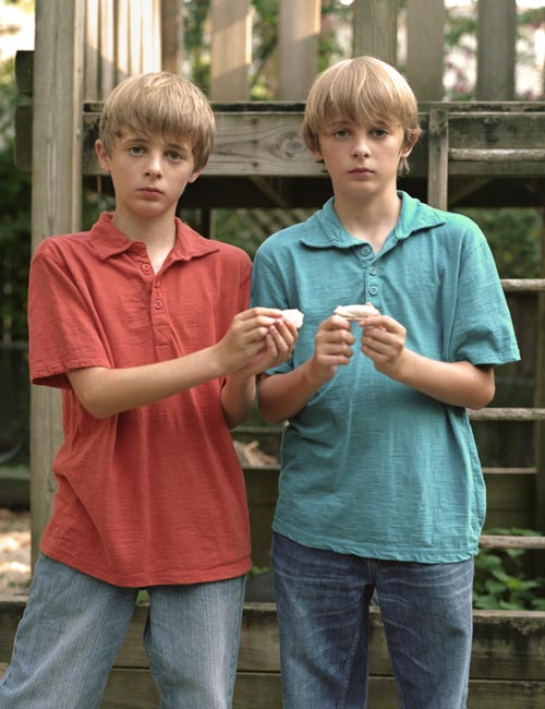 Twin boys with shells (2011)