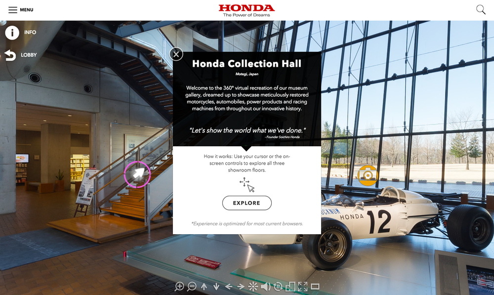 Welcome to the (virtual) lobby of the astounding Honda Collection Hall in Japan...explore all three floors on your laptop or mobile device!