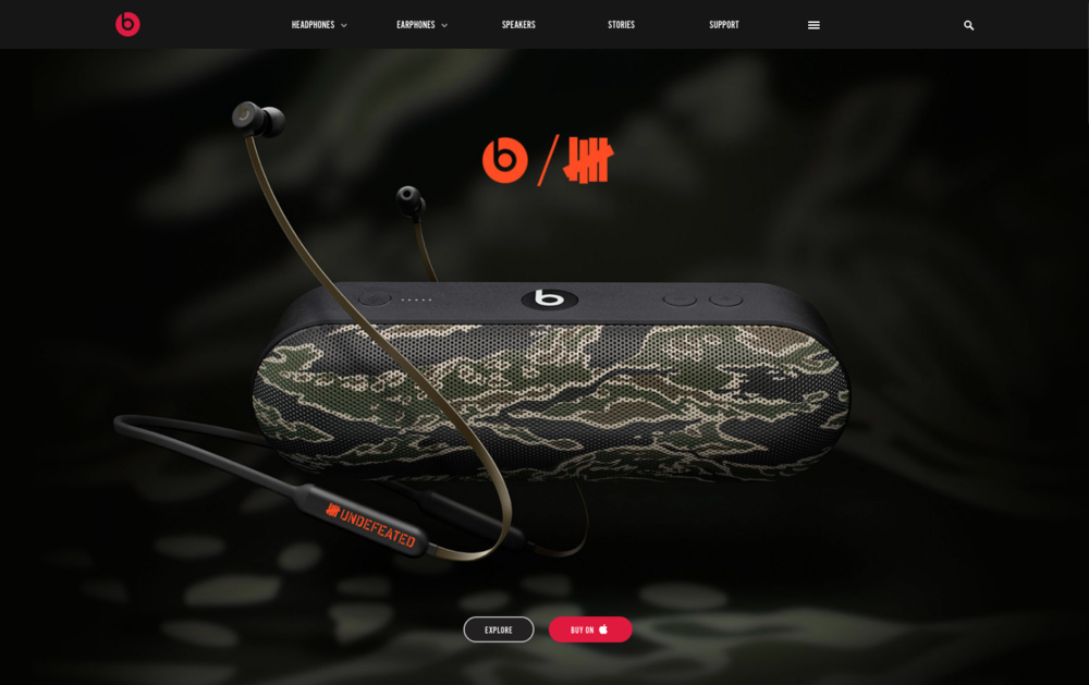 The Beats / UNDEFEATED Collection — beatsbydre.com homepage takeover