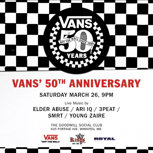 VANS' 50TH ANNIVERSARY AT GOODWILL MARCH 26.  ARI I.Q./ SMRT / 3PEAT / ELDER ABUSE / YOUNG ZAIRE
