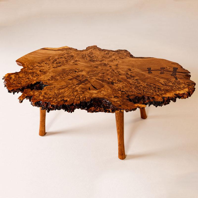 Brown Oak Burl Table
