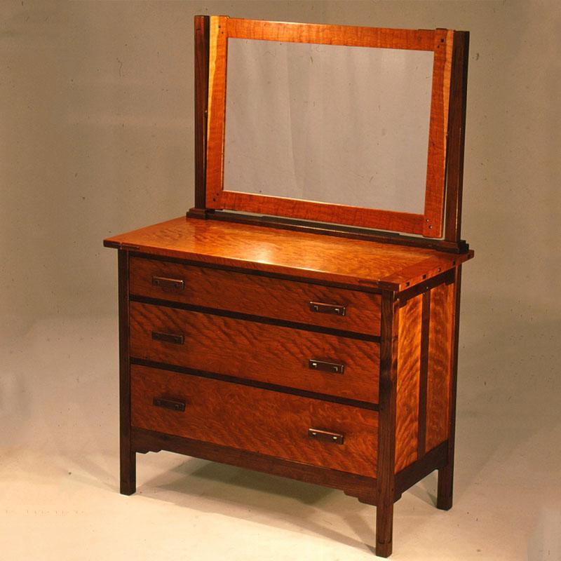 3-Drawer Low Boy Dresser with Mirror