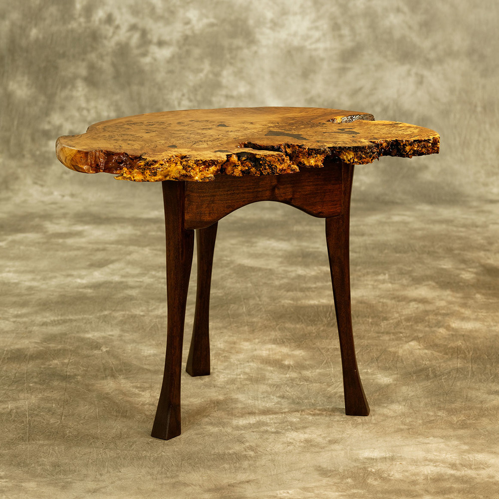 Brown Oak Burl   Half-Moon End Table