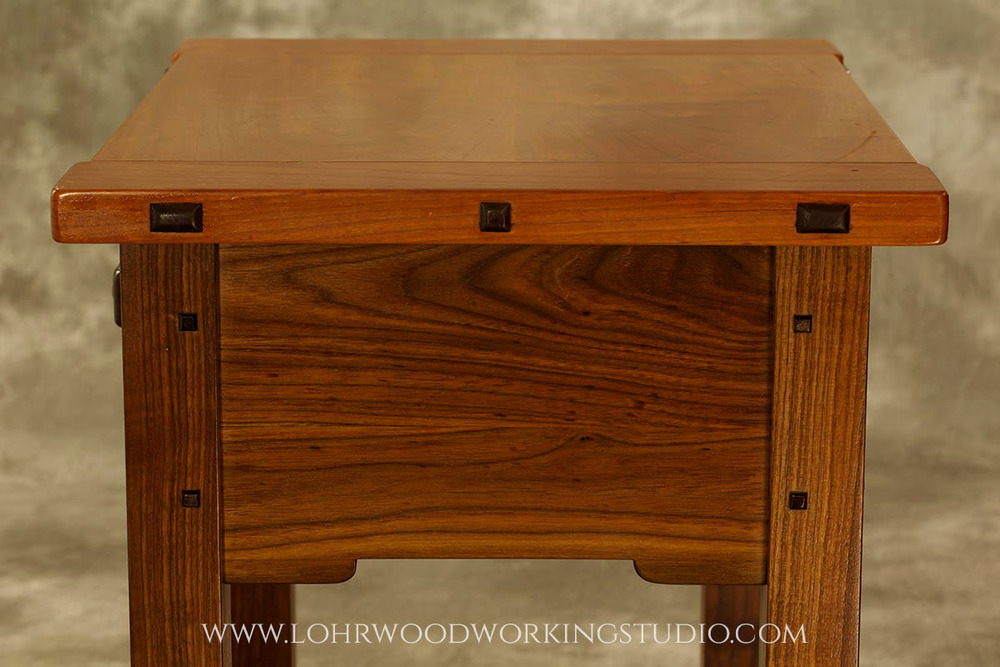 Walnut and Cherry Accessory Table Side View