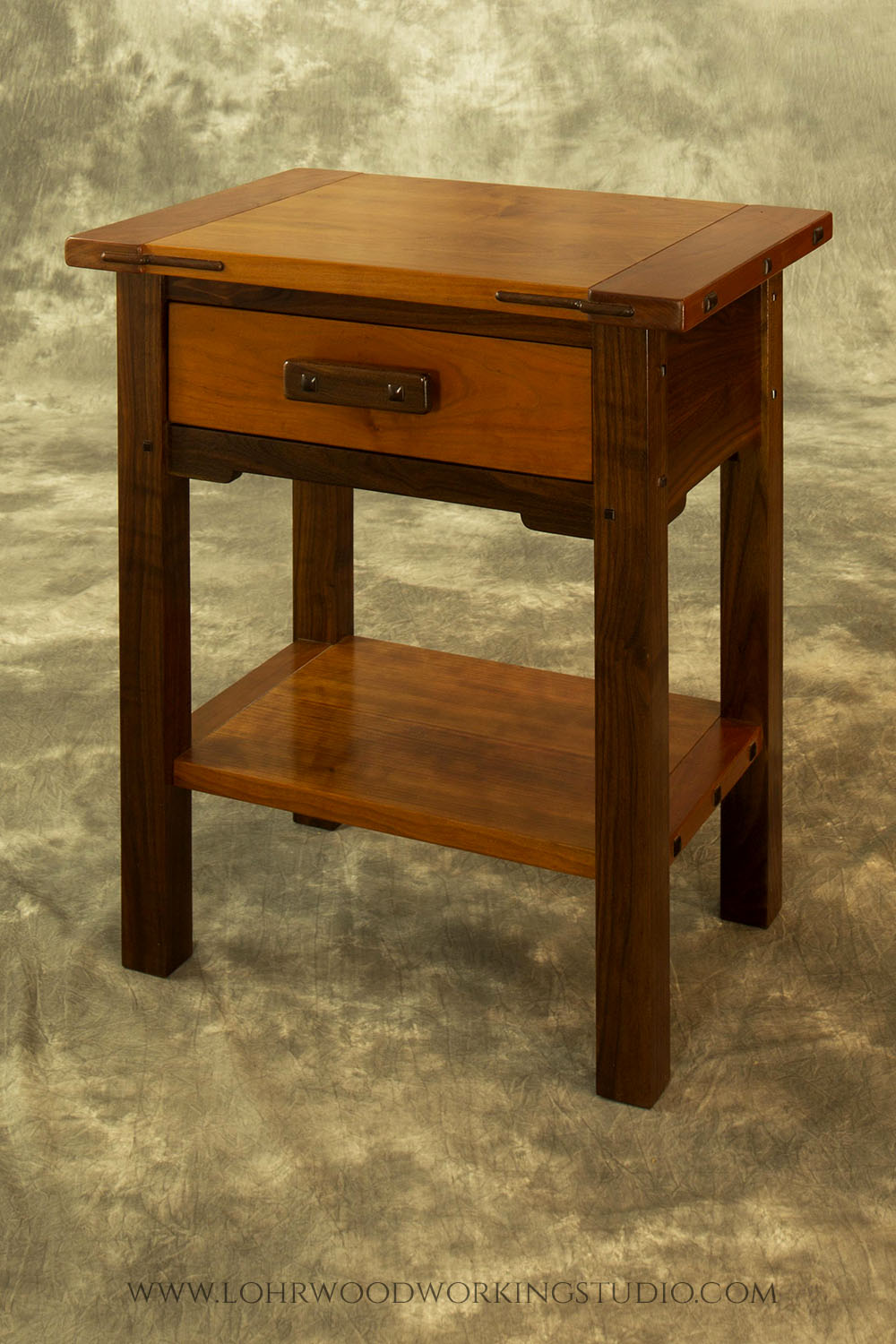 Walnut cherry accessory table lohr woodworking studio for Studio 52 table view