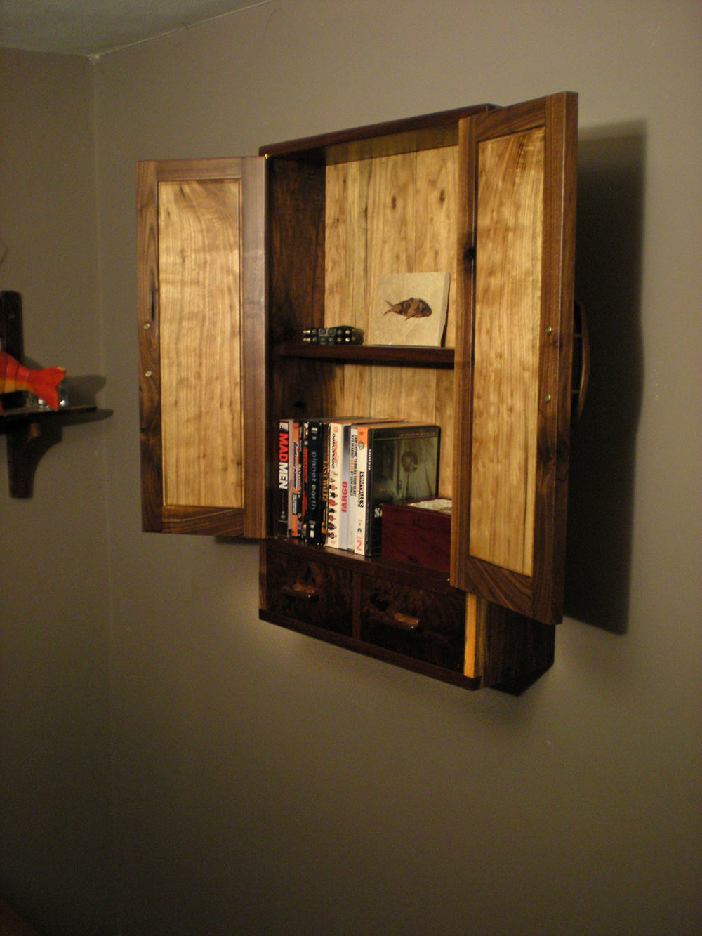 Walnut and Butternut Wall Cabinet Inside