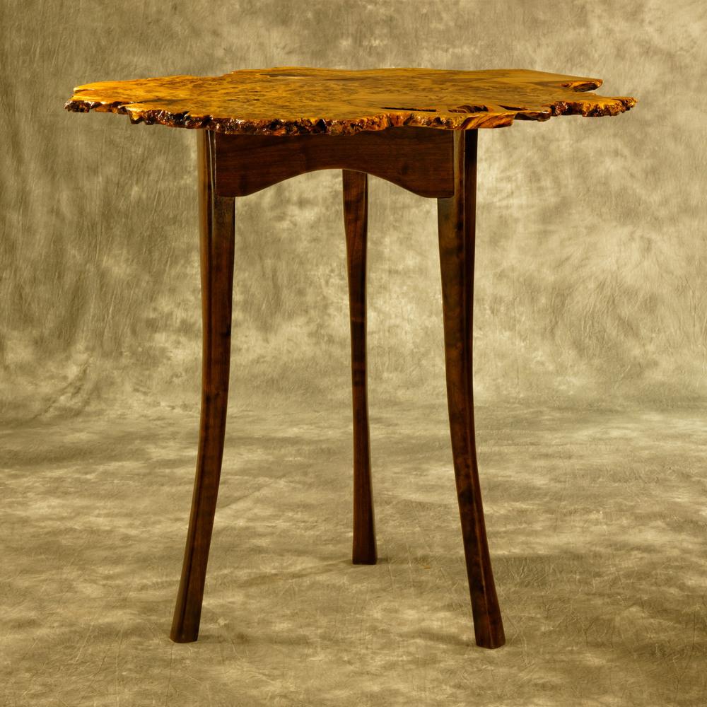 Brown Oak Burl Cocktail Table