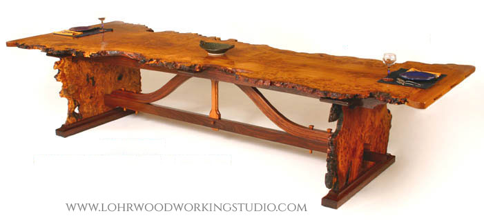 English Brown Oak Burl Dining Table