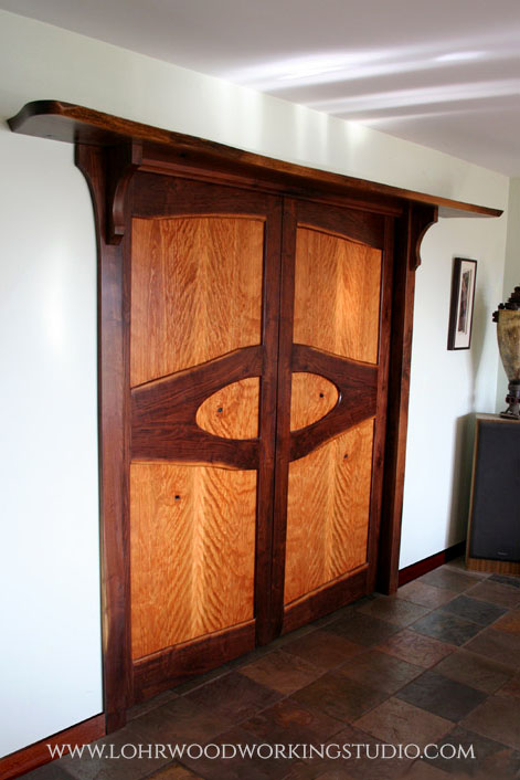 Live Edge Walnut Door Treament & Curly Cherry Veneer Door Panels