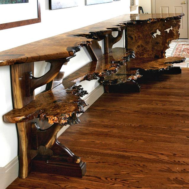 Brown Oak Burl Sideboard