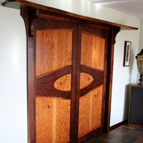 Cherry and Walnut Pocket Doors & Treatment