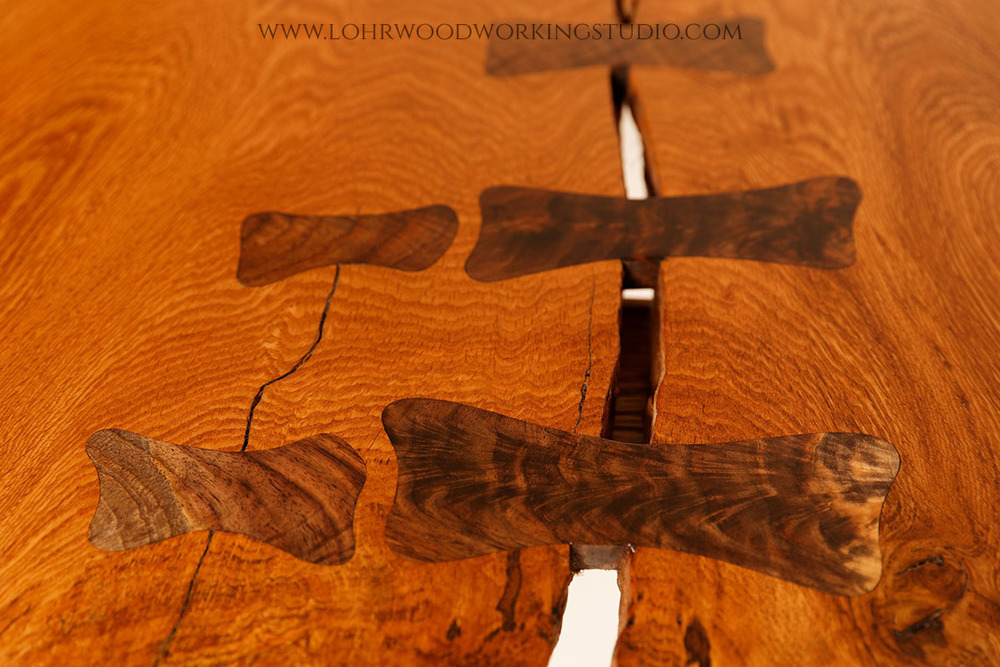 Chestnut Oak Crotch Slab Table Dovetail Bone Inlay Detail
