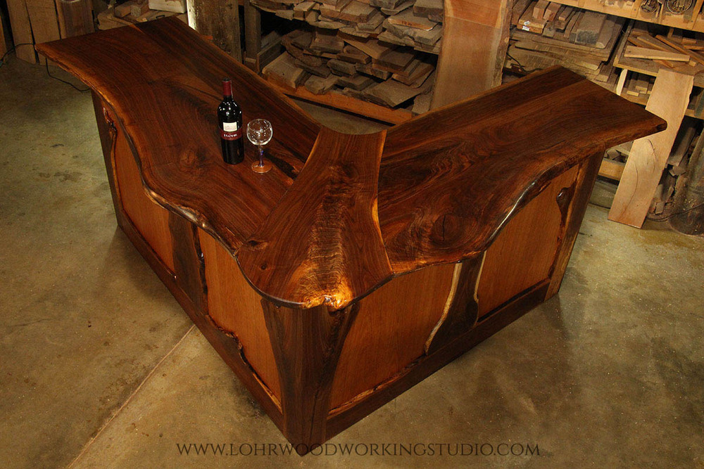 Live Edge Walnut Bar Lohr Woodworking Studio