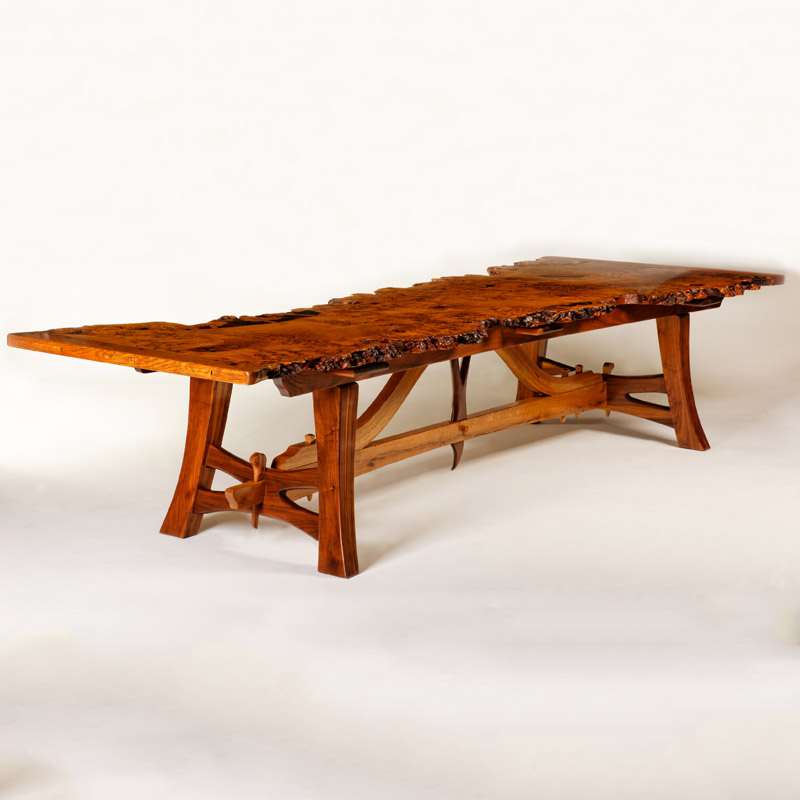 """Resurrection"" : Brown Oak Burl Dining Table"