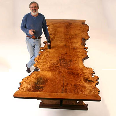 """Frontier"" : Brown Oak Burl Dining Table"