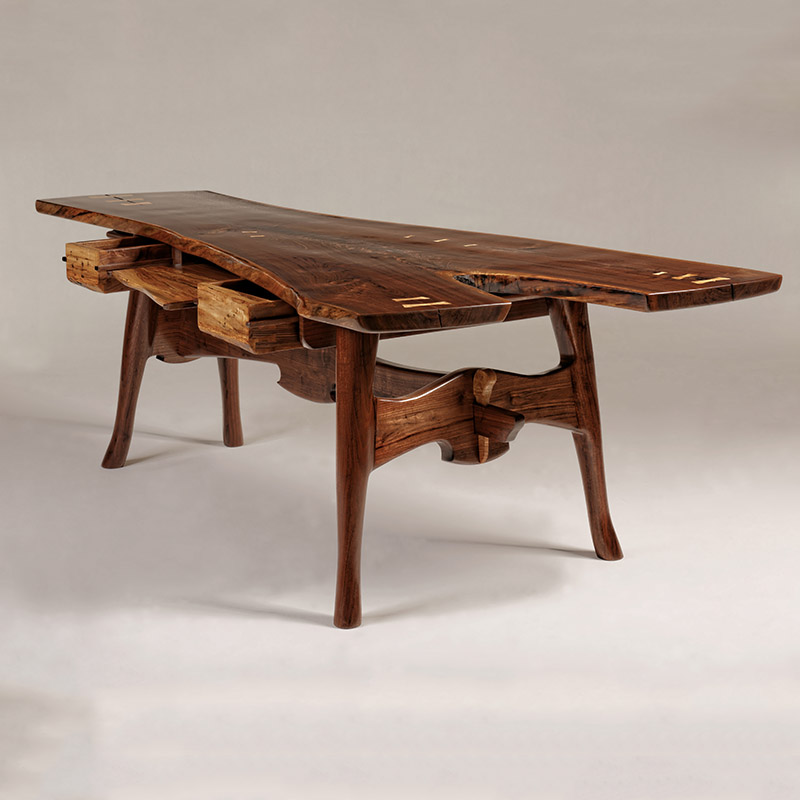"""Great Expectations"" : Black Walnut Desk with Spalted Maple drawers"
