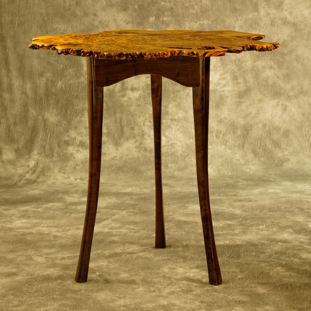 Brown Oak Burl Cocktail Table