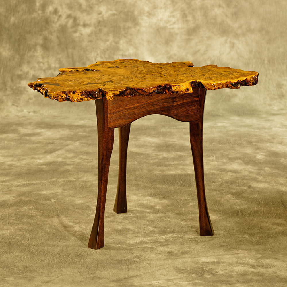Brown Oak Burl Side Table