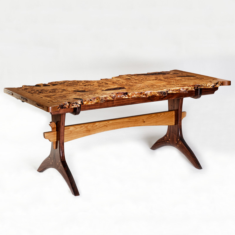 """Griffin"": Brown Oak Burl Dining Table"