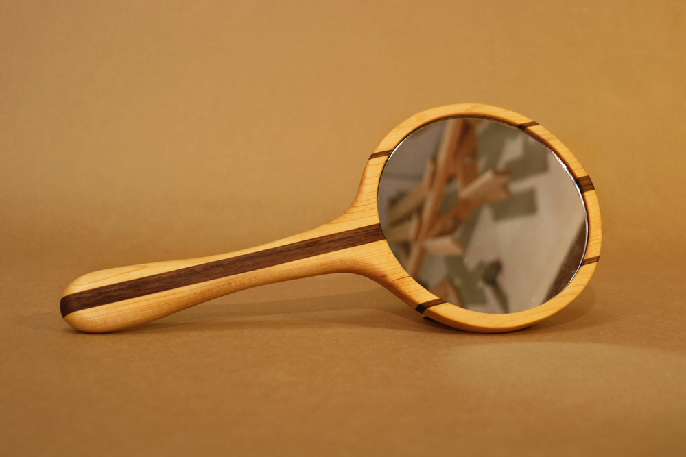 Basswood & Walnut Hand Mirror