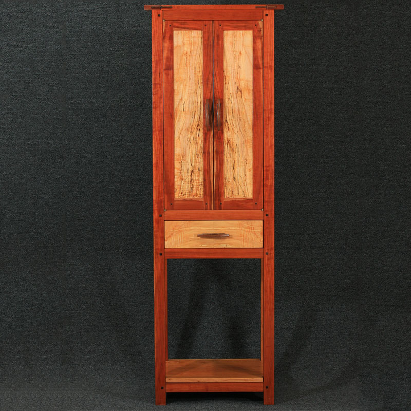 Cherry & Spalted Maple Wine & Spirits Cabinet