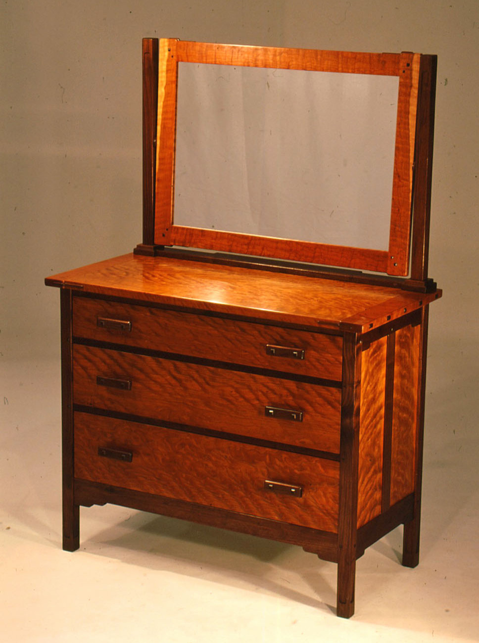 Walnut and Figured Cherry 3-Drawer Dresser with Mirror