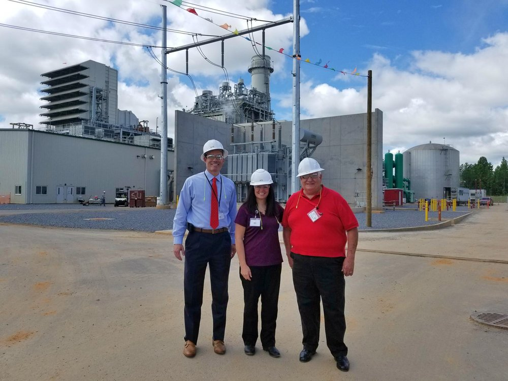 Representatives from Cleveland County toured the plant. During their visit, they discussed NTE's significant positive impact on the local economy. Pictured here are Shane Fox, CFO of the County, Kerrie Melton, Assistant County Manager, and Doug Bridges, a County Commissioner.