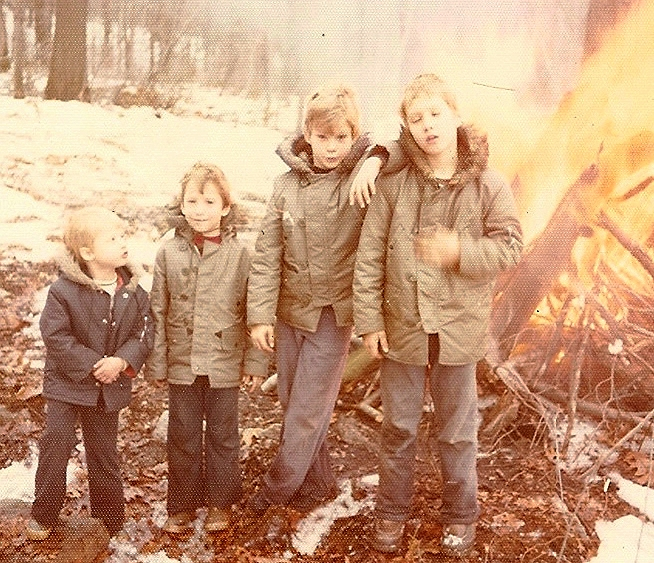 Camping with my brothers, grandfathers and uncle. Circa, 1975. L-R: Brooks, Scott and Sean Paxton, Tom Larkin. Photo: Think Out Loud Productions.