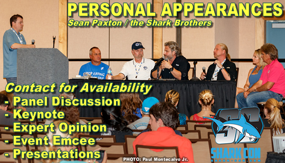 Shark-Con Panel Discussion. Tampa. L-R: Spencer Steward, Jim Abernethy, Dr. Bob Hueter, Sean Paxton, Brooks Paxton, Stuart Cove.