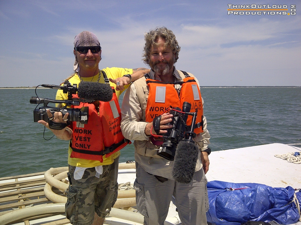 "The Shark Brothers, Sean & Brooks Paxton during field productions in North Carolina. Series Project: ""Blackbeard and the Queen Anne's Revenge""."