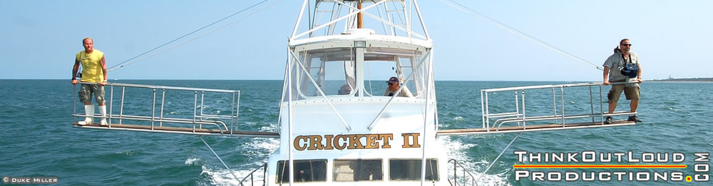 L-R: Brooks Paxton, Capt. Rick Freda, Frank Mundus and Sean Paxton on board the Cricket II off Montauk in 2007 during production and filming of the Monster Man's last overnight shark-release fishing and tagging expedition.