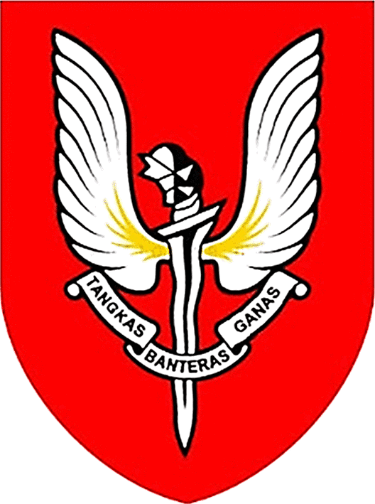 "THE CREST OF THE SPECIAL ACTIONS UNIT OF PGK. Literal translation: ""Quick to Overcome Terror"""