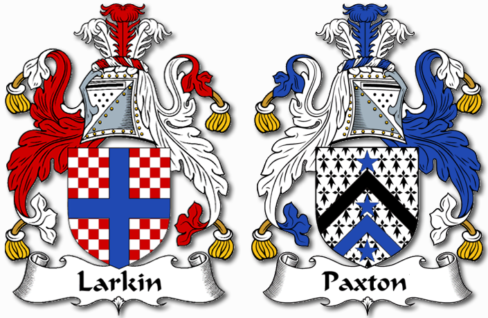 My Family's Coat of arms. Larkin on my Mother's side and Paxton on my Father's.