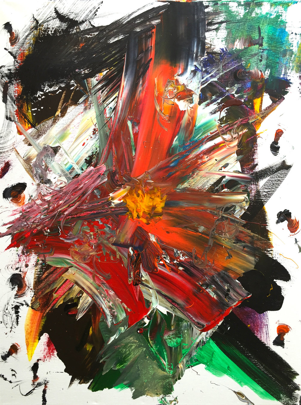 "Popcorn (2016)  crylic on Canvas 24"" x 18""  $350"