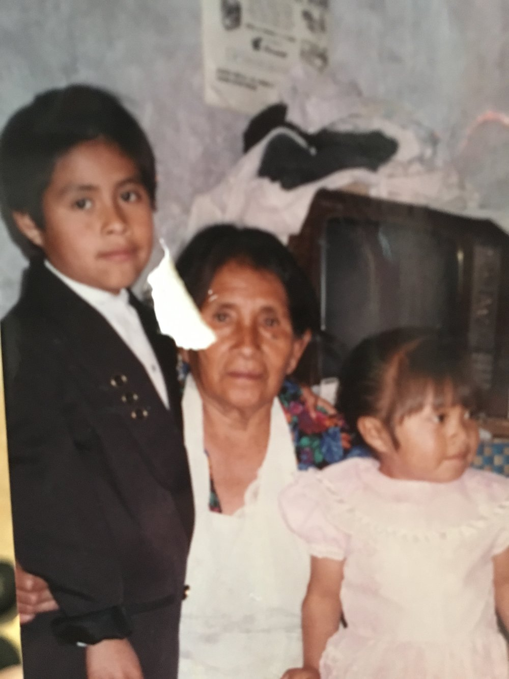 Sonia with her grandmother in Mexico City as a child - she has not seen her in 18 years.