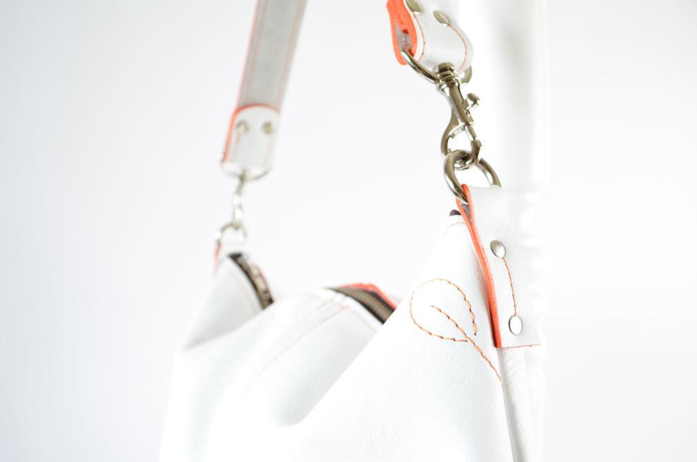 New Classic Cherry stitch design in Snow White and Orange stitching