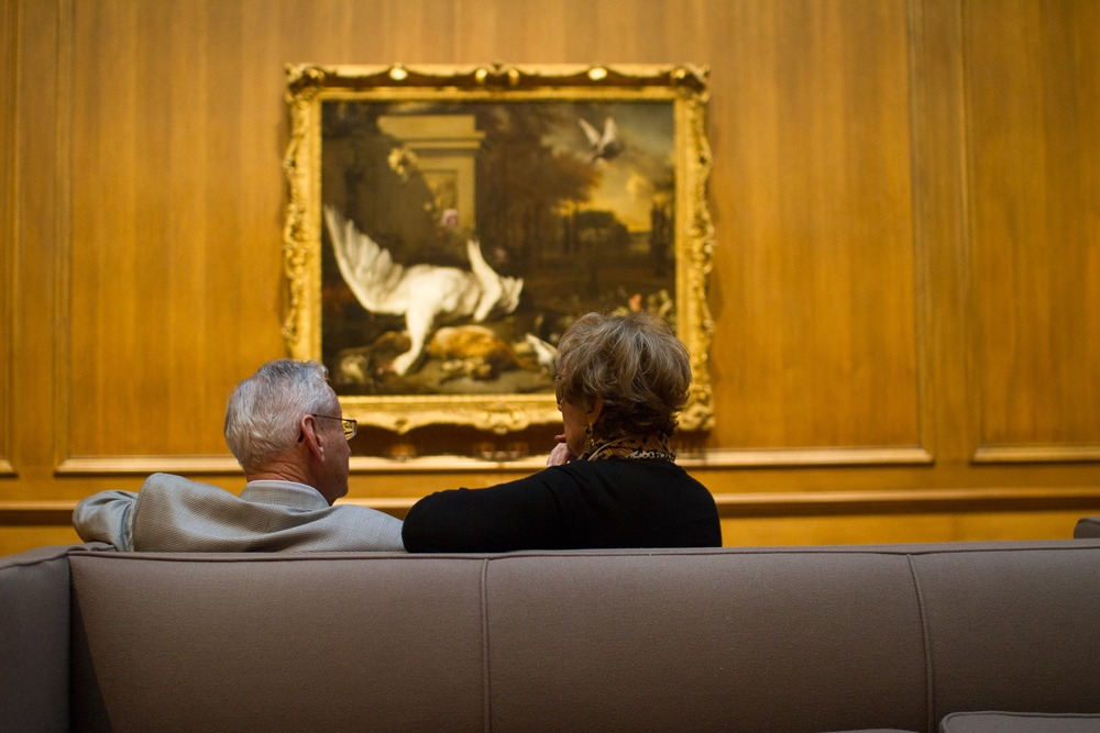 Man and woman at the National Gallery of Art in Washington, D.C