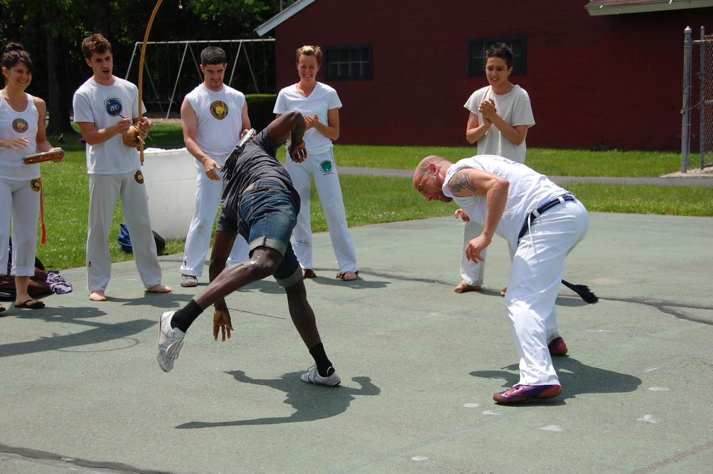 Performing capoeira in Amherst, Massachusetts