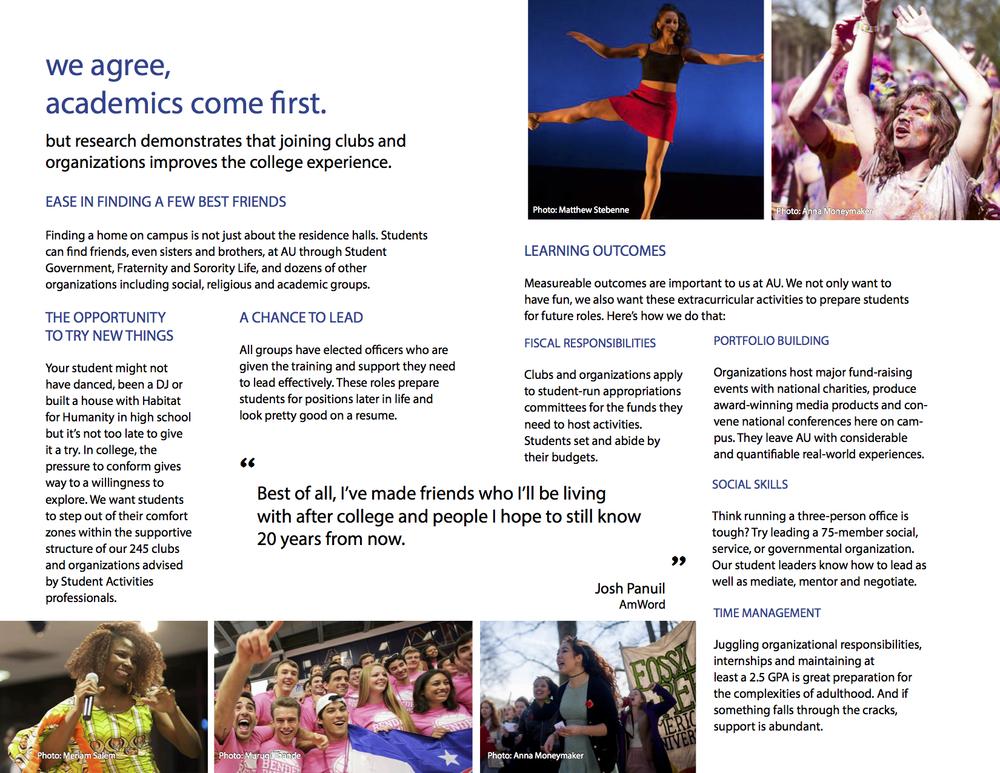 Student Activities Brochure for American University