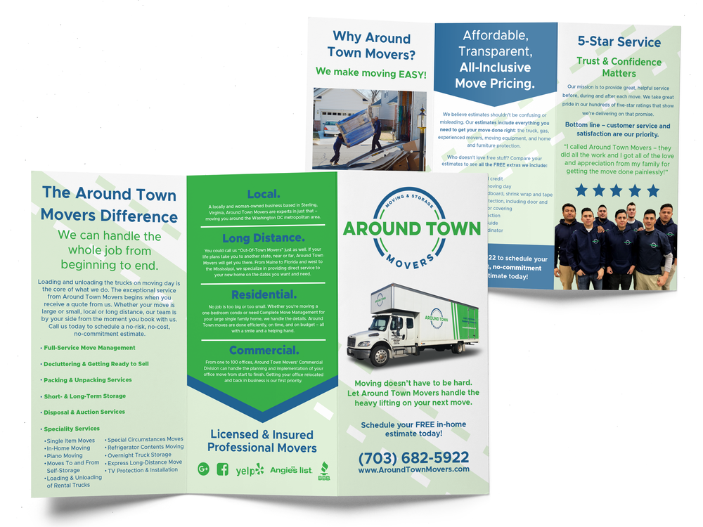 Print tri-fold brochure for Around Town Movers