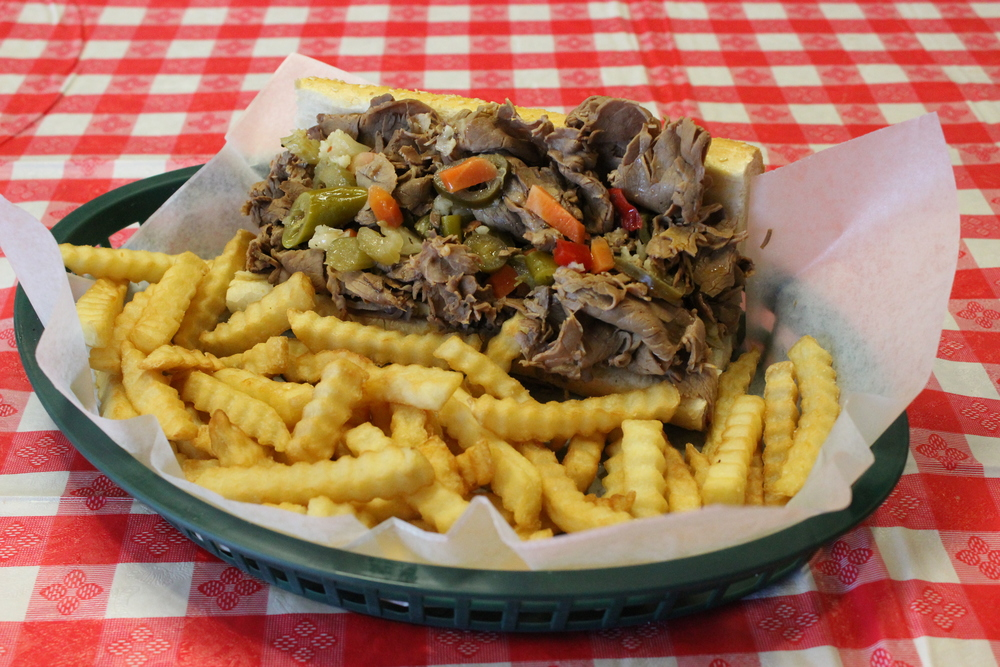 Our Italian beef sandwich with fries $5.95