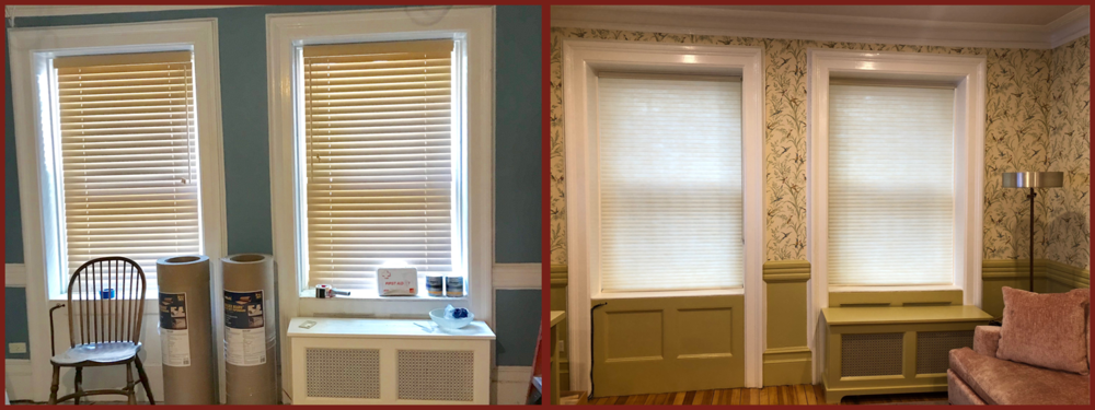 Den Windows and surrounding walls: fresh wallpaper, paint, and window treatment